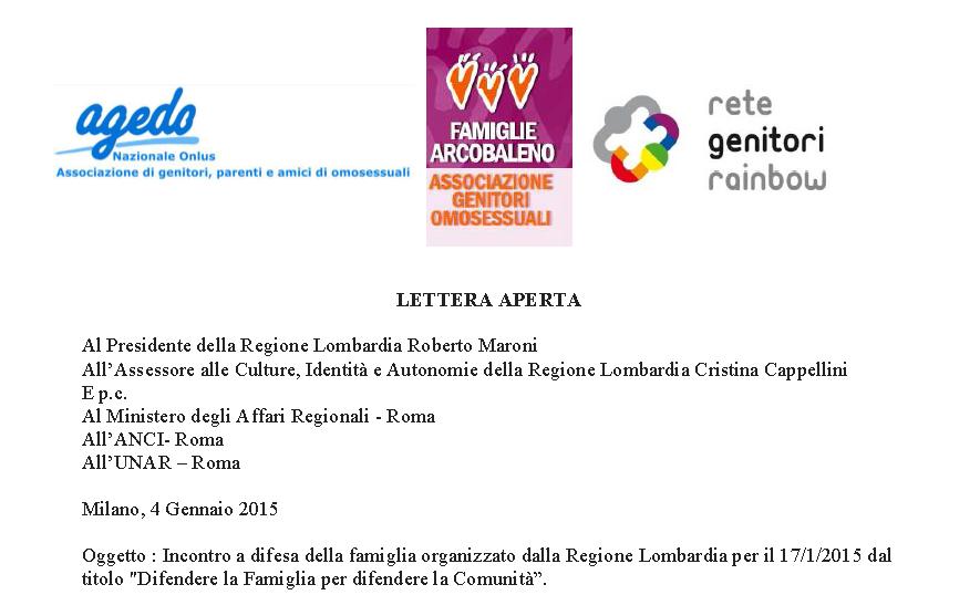 Lettera Aperta delle associazioni lgbt di genitori alla Regione Lombardia