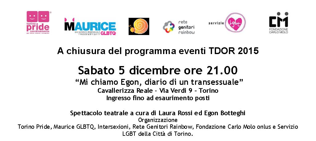 """TDOR 2015 Torino – """"Mi chiamo Egon, diario di un transessuale"""""""