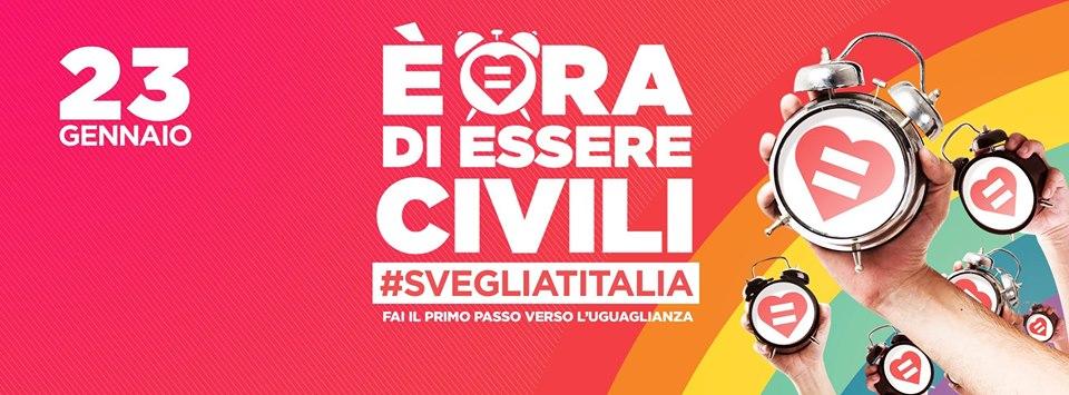 23 gennaio 2016 – Svegliati Italia!  Mobilitazione per il ddl sulle unioni civili